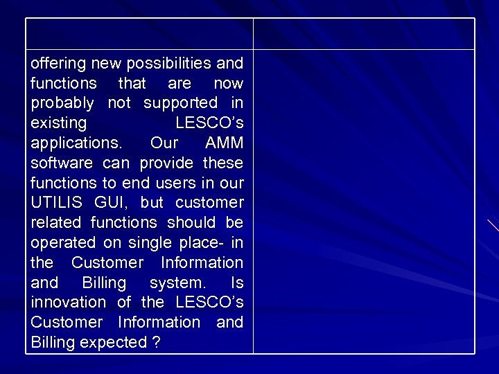 offering new possibilities and functions that are now probably not supported in existing LESCO's