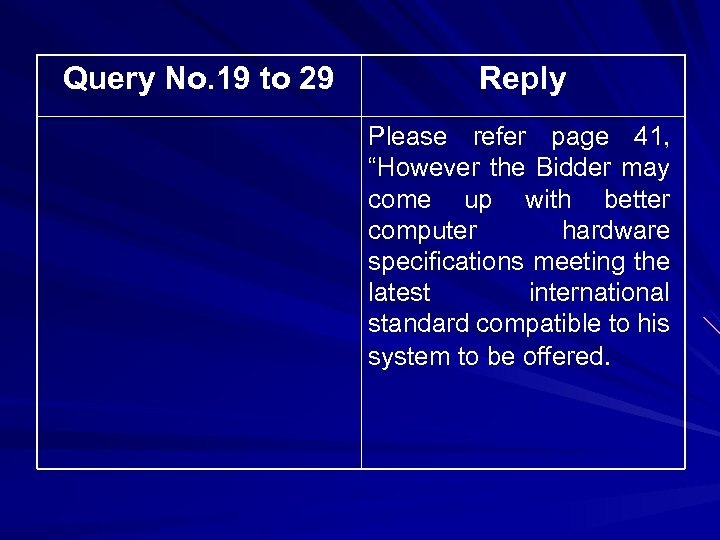 "Query No. 19 to 29 Reply Please refer page 41, ""However the Bidder may"