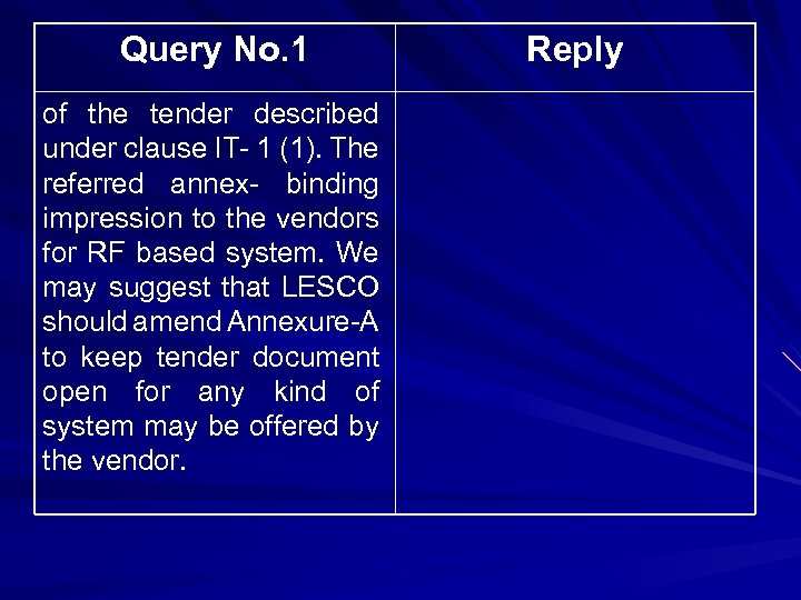 Query No. 1 of the tender described under clause IT- 1 (1). The referred