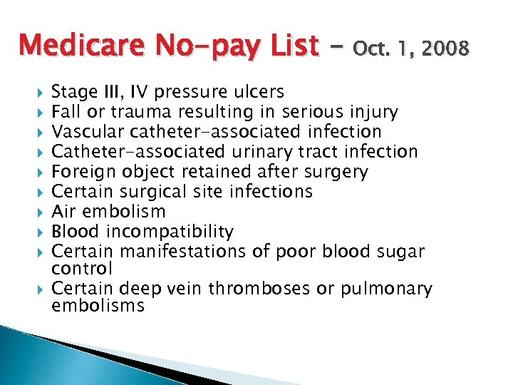 Medicare No-pay List – Oct. 1, 2008 Stage III, IV pressure ulcers Fall or