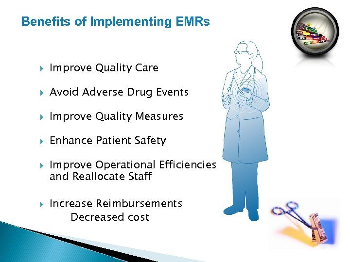 Benefits of Implementing EMRs Improve Quality Care Avoid Adverse Drug Events Improve Quality Measures