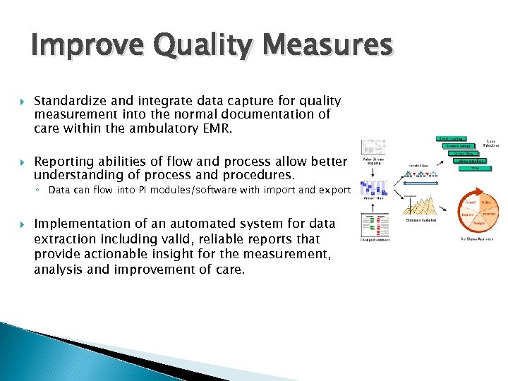 Improve Quality Measures Standardize and integrate data capture for quality measurement into the normal