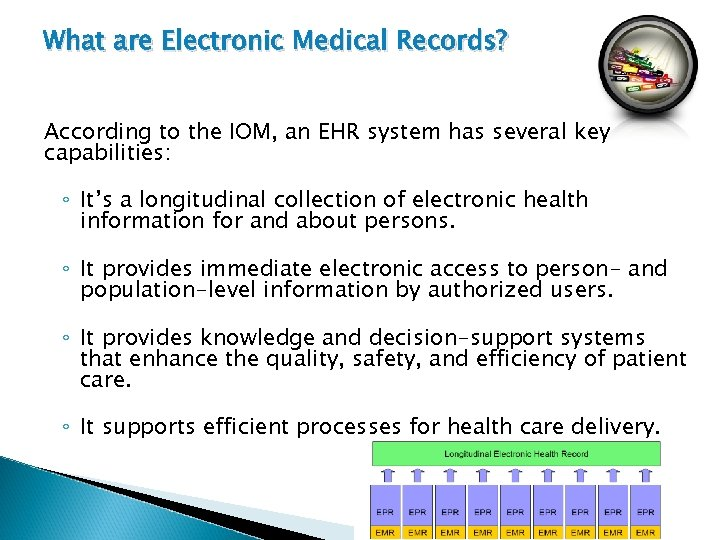 What are Electronic Medical Records? According to the IOM, an EHR system has several