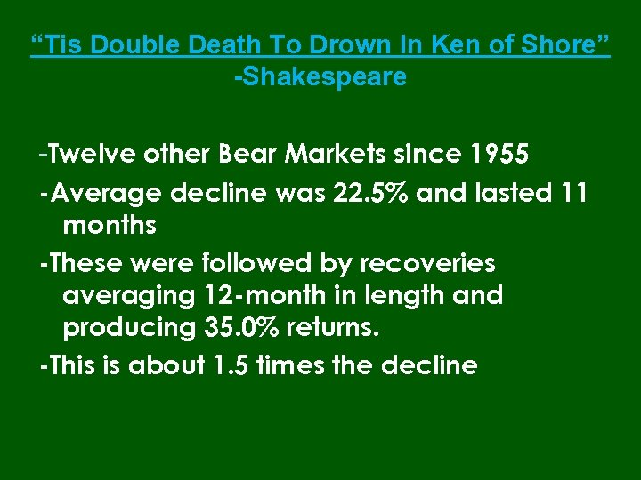 """Tis Double Death To Drown In Ken of Shore"" -Shakespeare -Twelve other Bear Markets"