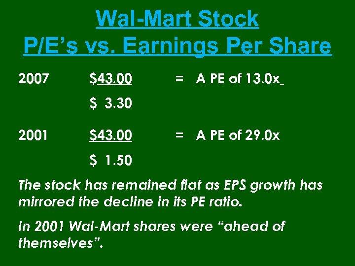 Wal-Mart Stock P/E's vs. Earnings Per Share 2007 $43. 00 = A PE of