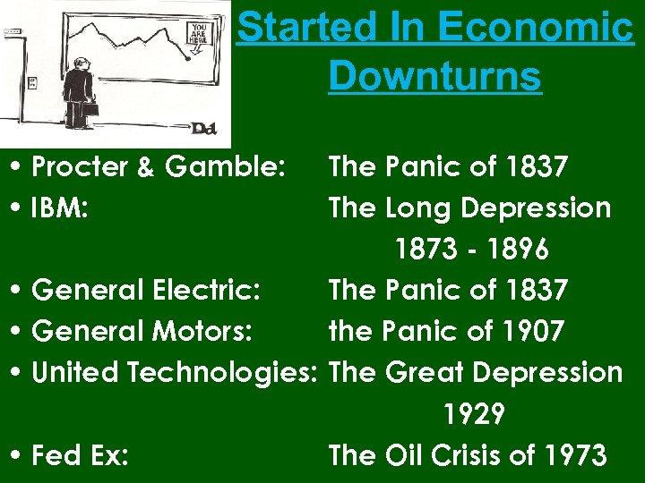 Started In Economic Downturns • Procter & Gamble: • IBM: The Panic of 1837