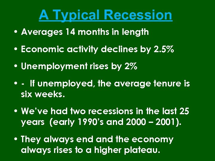 A Typical Recession • Averages 14 months in length • Economic activity declines by
