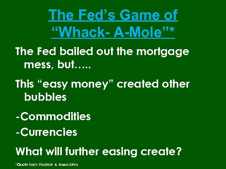 "The Fed's Game of ""Whack- A-Mole""* The Fed bailed out the mortgage mess, but…."