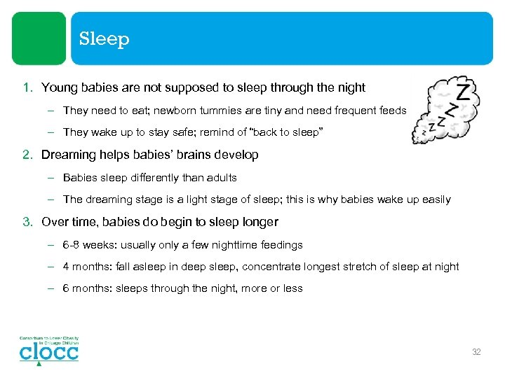 Sleep 1. Young babies are not supposed to sleep through the night – They