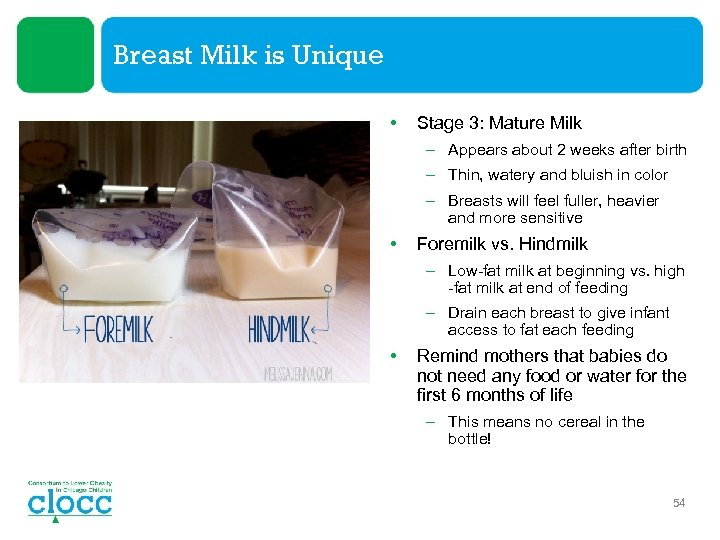 Breast Milk is Unique • Stage 3: Mature Milk – Appears about 2 weeks