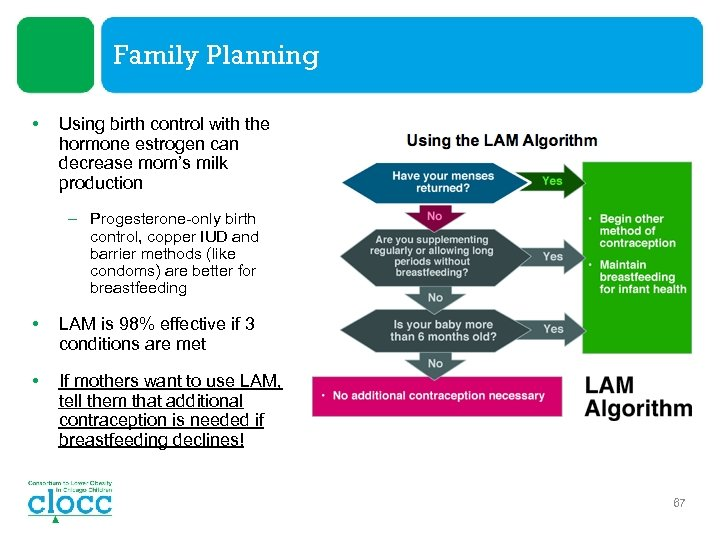 Family Planning • Using birth control with the hormone estrogen can decrease mom's milk
