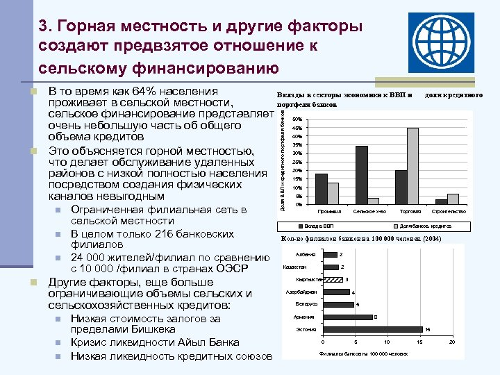 3. Горная местность и другие факторы создают предвзятое отношение к сельскому финансированию n В