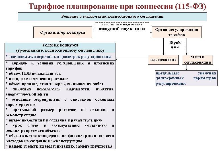Тарифное планирование при концессии (115 -ФЗ) ДОЛГОСРОЧНОЕ РЕГУЛИРОВАНИЕ ТАРИФОВ 101