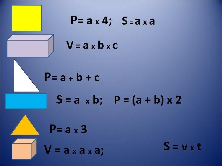 Р= a х 4; S = a х a V=aхbхc Р= a + b