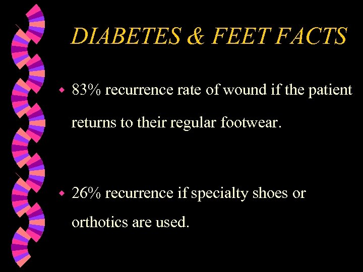 DIABETES & FEET FACTS w 83% recurrence rate of wound if the patient returns