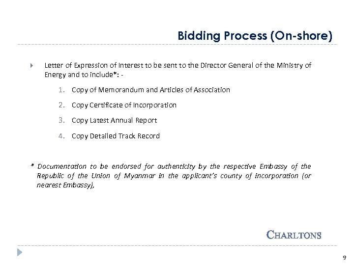 Bidding Process (On-shore) Letter of Expression of Interest to be sent to the Director