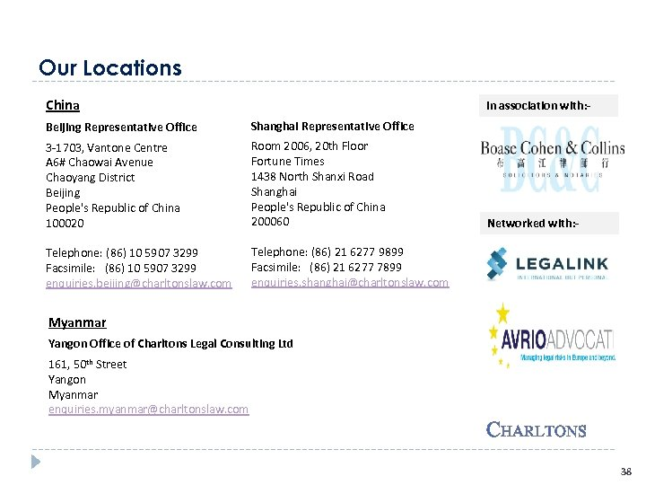 Our Locations China In association with: - Beijing Representative Office Shanghai Representative Office 3
