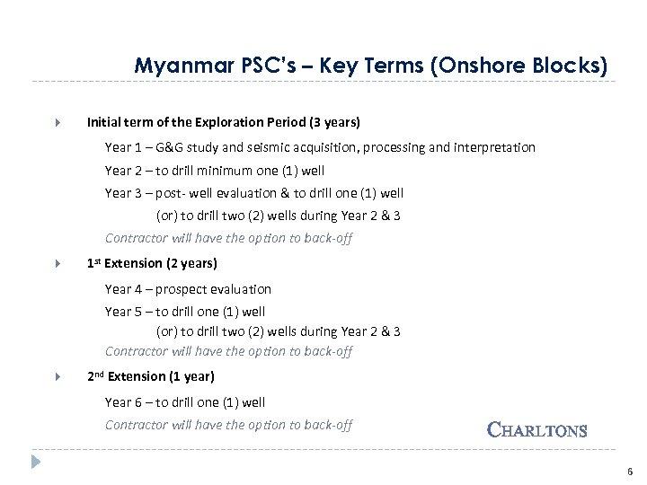 Myanmar PSC's – Key Terms (Onshore Blocks) Initial term of the Exploration Period (3