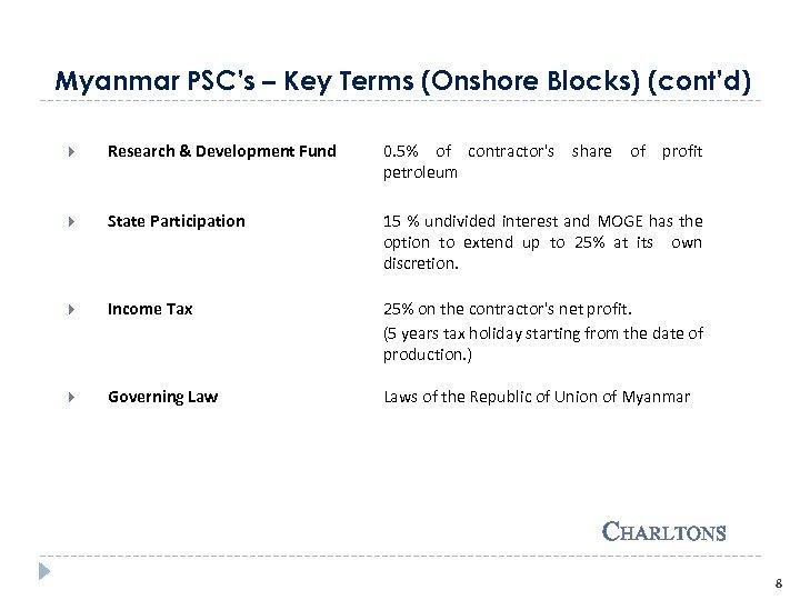 Myanmar PSC's – Key Terms (Onshore Blocks) (cont'd) Research & Development Fund 0. 5%