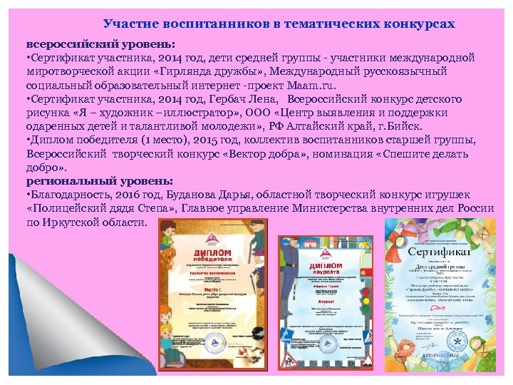 Участие воспитанников в тематических конкурсах всероссийский уровень: • Сертификат участника, 2014 год, дети средней