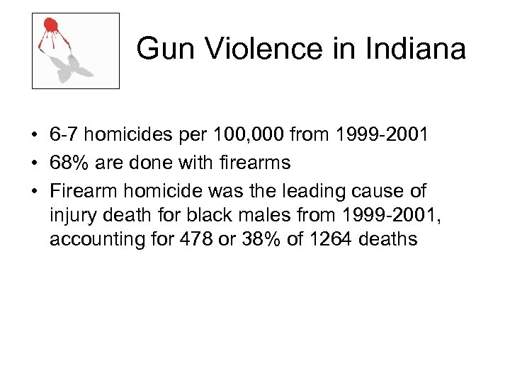 Gun Violence in Indiana • 6 -7 homicides per 100, 000 from 1999 -2001