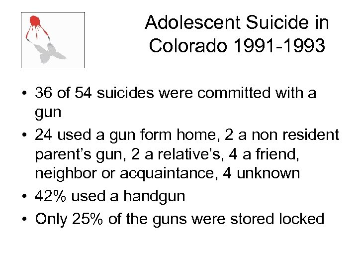 Adolescent Suicide in Colorado 1991 -1993 • 36 of 54 suicides were committed with