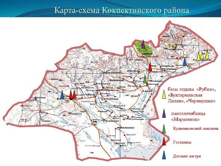 Карта-схема Кокпектинского района базы отдыха «Рубин» , «Бухтарминская Лилия» , «Черемушки» пантолечебница «Мараленок» Кулынжонский