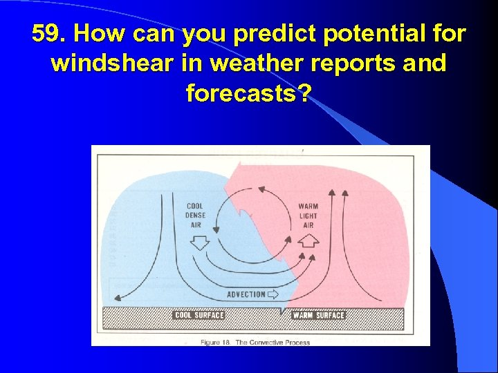 59. How can you predict potential for windshear in weather reports and forecasts?