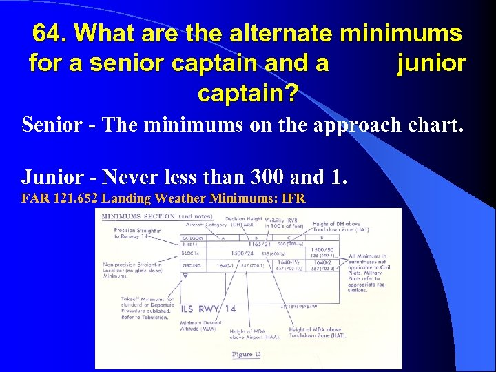 64. What are the alternate minimums for a senior captain and a junior captain?