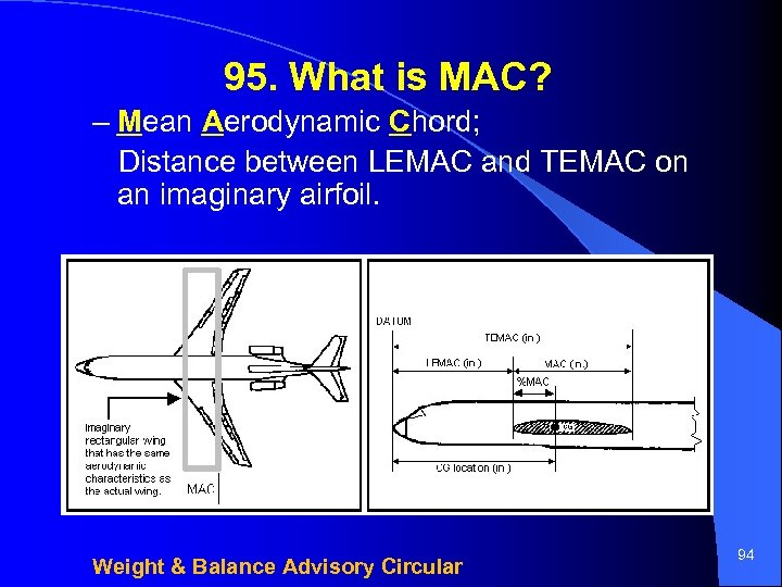 95. What is MAC? – Mean Aerodynamic Chord; Distance between LEMAC and TEMAC on