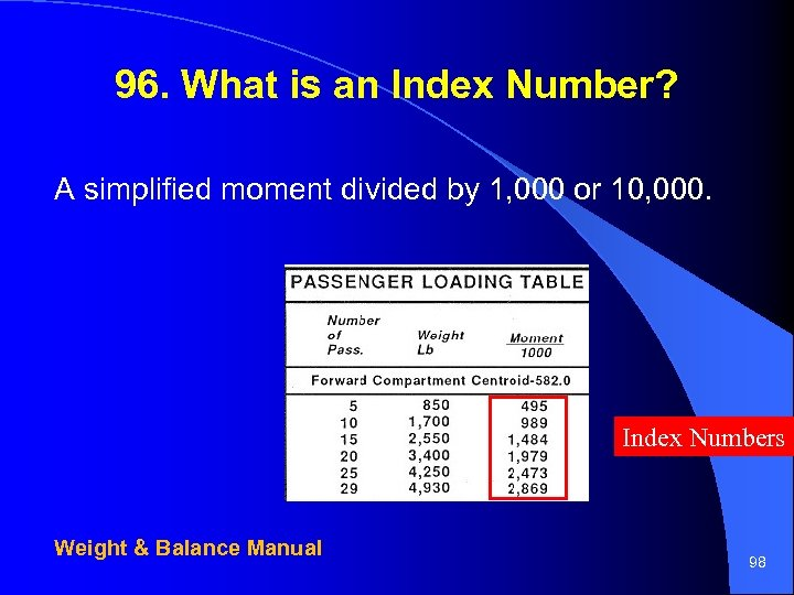 96. What is an Index Number? A simplified moment divided by 1, 000 or