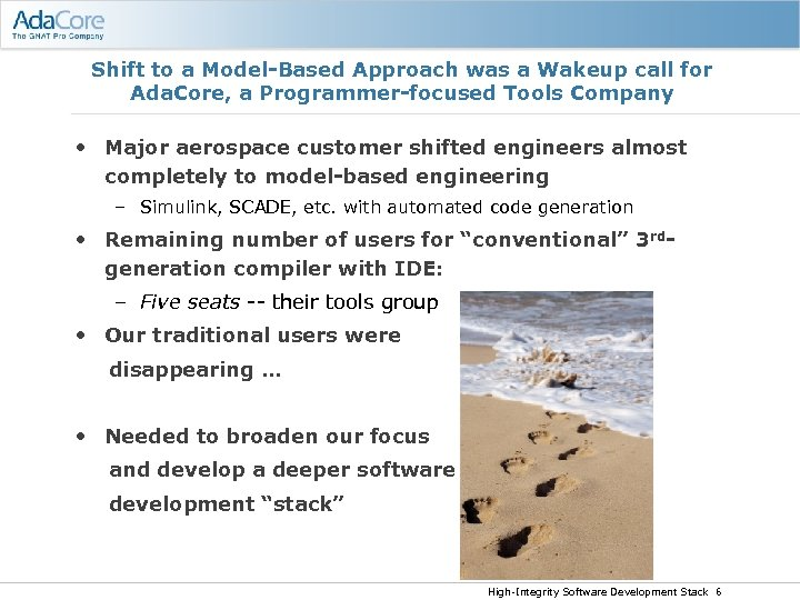 Shift to a Model-Based Approach was a Wakeup call for Ada. Core, a Programmer-focused