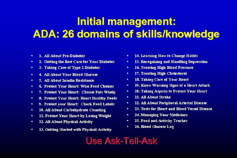 Initial management: ADA: 26 domains of skills/knowledge • • • 1. All About Pre-Diabetes