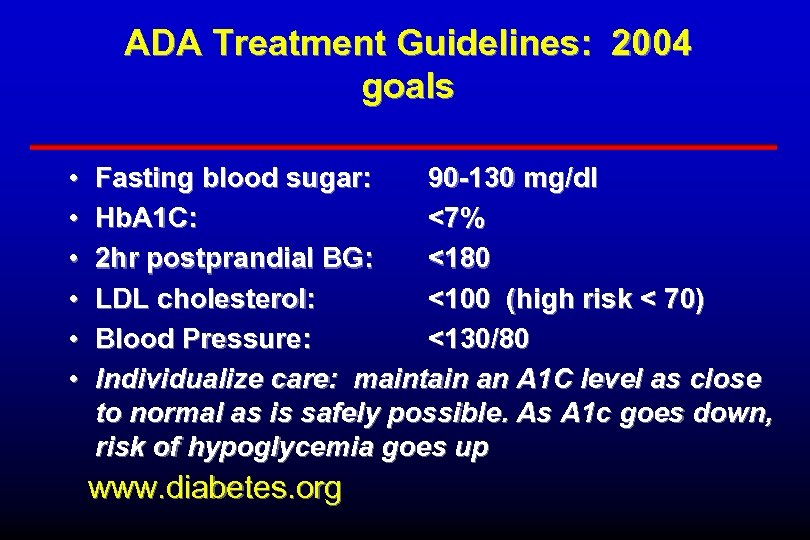 ADA Treatment Guidelines: 2004 goals • • • Fasting blood sugar: 90 -130 mg/dl