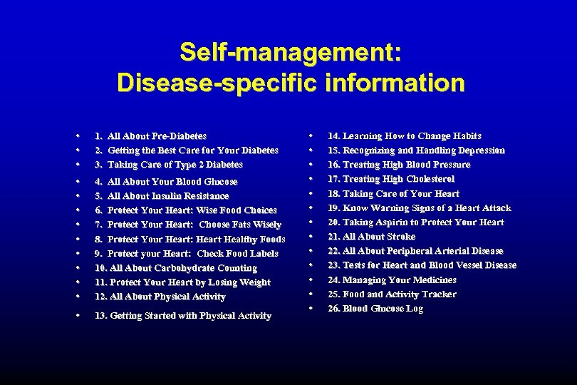 Self-management: Disease-specific information • • • 1. All About Pre-Diabetes 2. Getting the Best