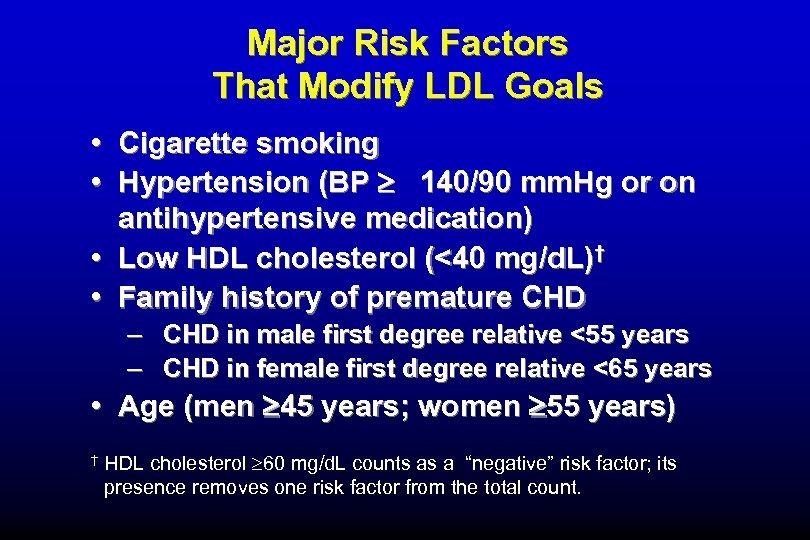 Major Risk Factors That Modify LDL Goals • Cigarette smoking • Hypertension (BP 140/90