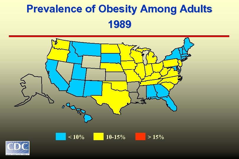 Prevalence of Obesity Among Adults 1989 < 10% 10 -15% > 15%