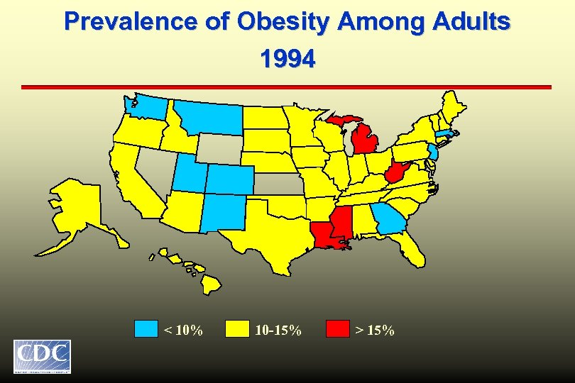 Prevalence of Obesity Among Adults 1994 < 10% 10 -15% > 15%