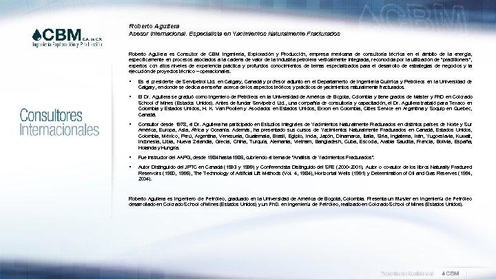 Roberto Aguilera Asesor Internacional. Especialista en Yacimientos Naturalmente Fracturados Roberto Aguilera es Consultor de