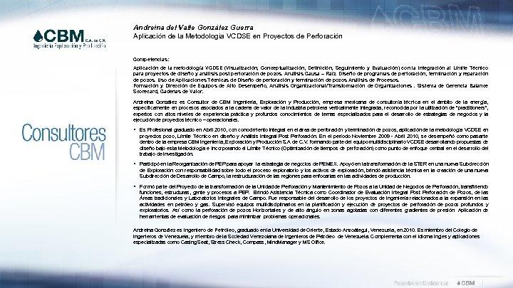 Andreina del Valle González Guerra Aplicación de la Metodología VCDSE en Proyectos de Perforación