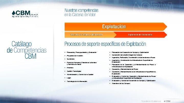 • • Planeación, Presupuestación y Evaluación • Planeación del Desarrollo de Campos y