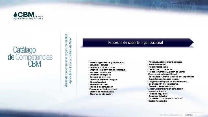 • Análisis organizacional y de procesos. • Estudios sectoriales. • Diseño de políticas