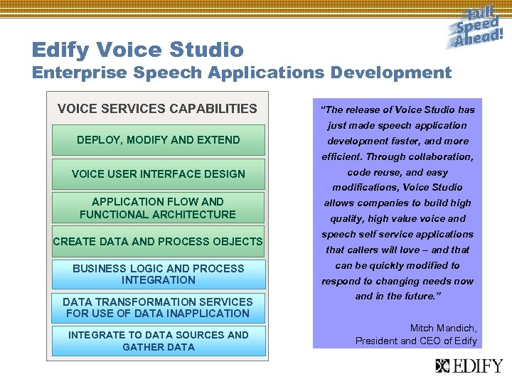 "Edify Voice Studio Enterprise Speech Applications Development VOICE SERVICES CAPABILITIES ""The release of Voice"