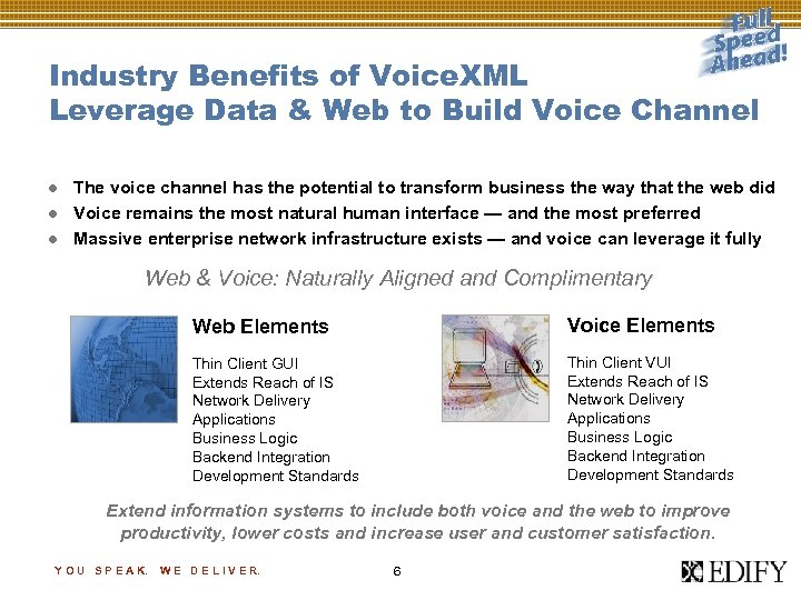 Industry Benefits of Voice. XML Leverage Data & Web to Build Voice Channel l