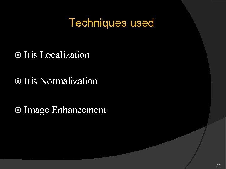 Techniques used Iris Localization Iris Normalization Image Enhancement 20