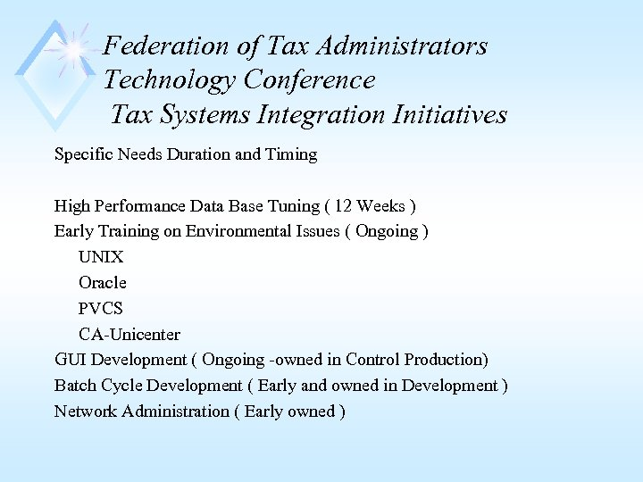 Federation of Tax Administrators Technology Conference Tax Systems Integration Initiatives Specific Needs Duration and