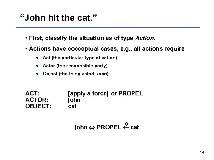 """John hit the cat. "" • First, classify the situation as of type Action."