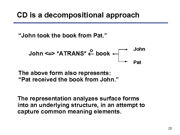 "CD is a decompositional approach ""John took the book from Pat. "" o John"