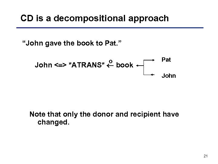 "CD is a decompositional approach ""John gave the book to Pat. "" o John"