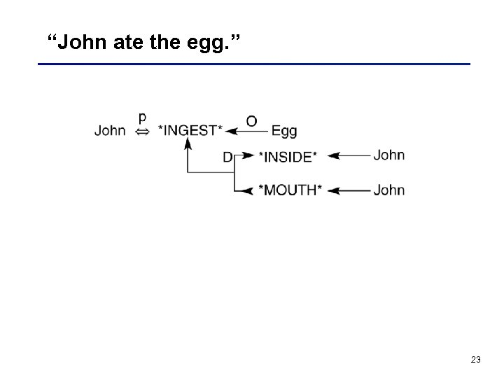 """John ate the egg. "" 23"